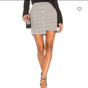 Asymmetric Mini Skirt in Grey/Gray Plaid